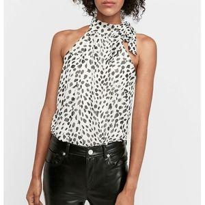 Express leopard halter tie neck thong bodysuit